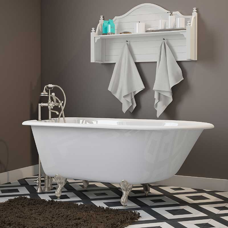 "Cambridge Plumbing Cast-Iron Rolled Rim Clawfoot Tub 55"" X 30"" with 7"" Deck Mount Faucet Drillings and Brushed Nickel Feet"