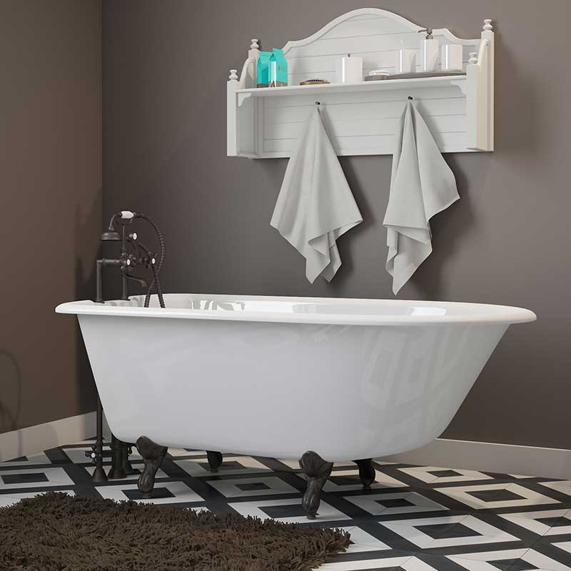 "Cambridge Plumbing Cast-Iron Rolled Rim Clawfoot Tub 55"" X 30"" with 7"" Deck Mount Faucet Drillings and Oil Rubbed Bronze Feet"