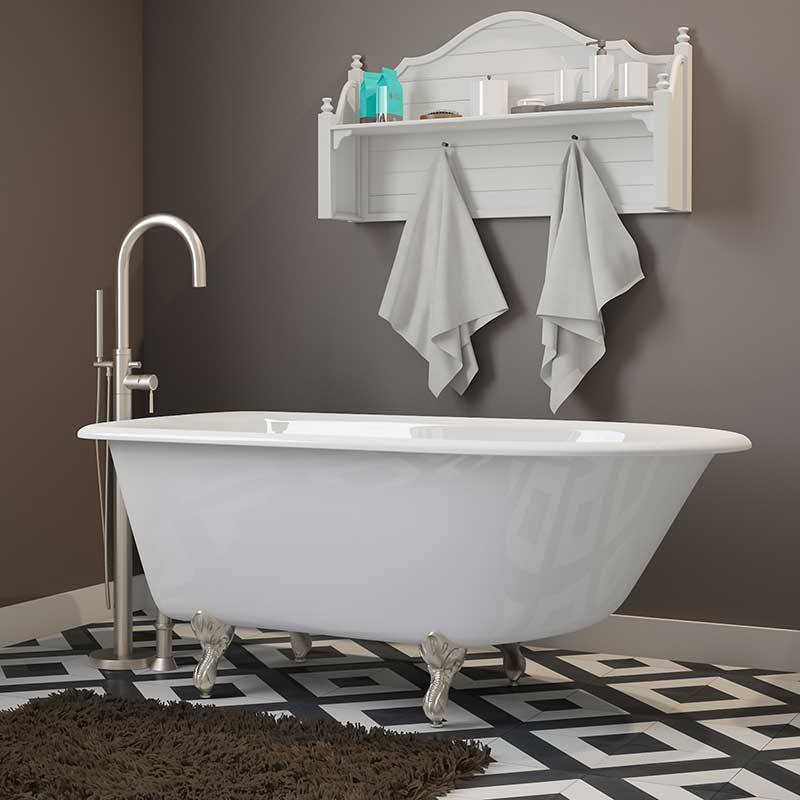 "Cambridge Plumbing Cast-Iron Rolled Rim Clawfoot Tub 55"" X 30"" with No Faucet Drillings and Brushed Nickel Feet"