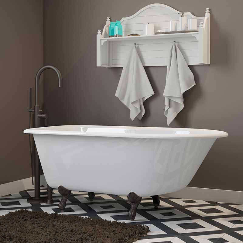 "Cambridge Plumbing Cast-Iron Rolled Rim Clawfoot Tub 55"" X 30"" with No Faucet Drillings and Oil Rubbed Bronze Feet"