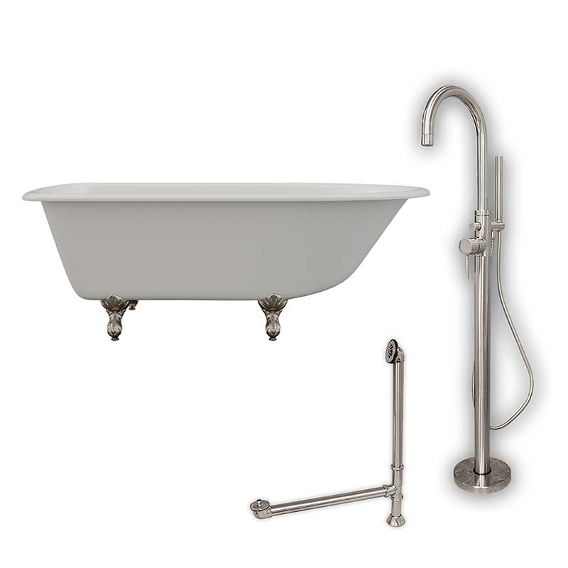 "Cambridge Plumbing Cast-Iron Rolled Rim Clawfoot Tub 61"" X 30"" with no Faucet Drillings and Complete Brushed Nickel Modern Freestanding Tub Filler with Hand Held Shower Assembly Plumbing Package"