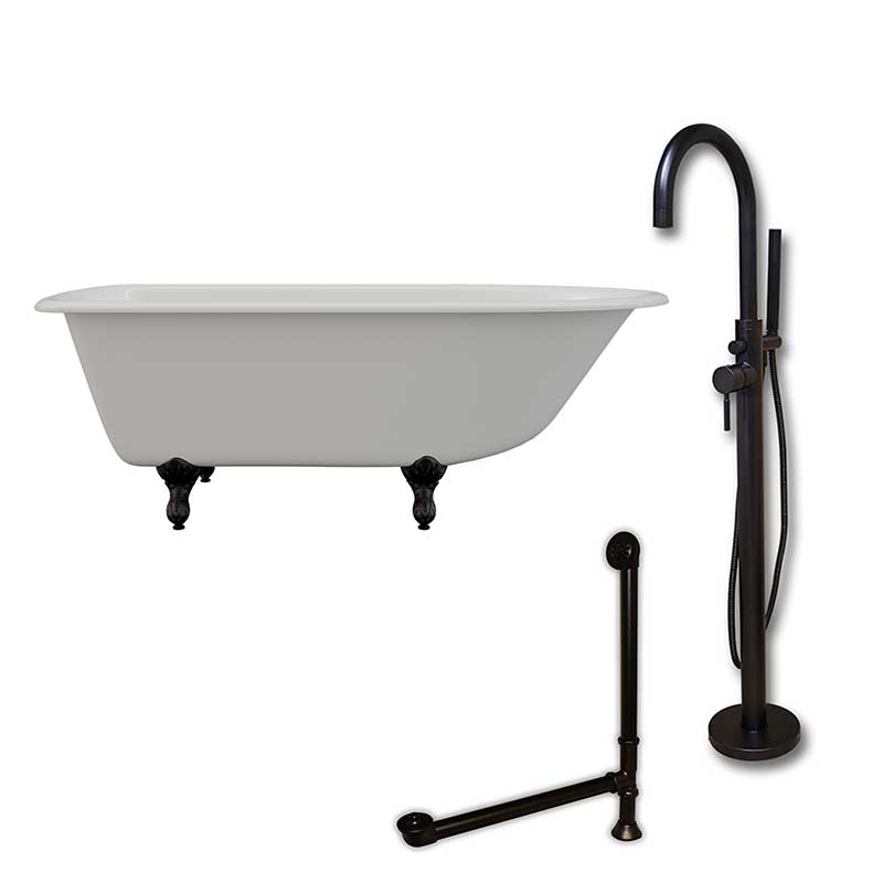 "Cambridge Plumbing Cast-Iron Rolled Rim Clawfoot Tub 61"" X 30"" with no Faucet Drillings and Complete Oil Rubbed Bronze Modern Freestanding Tub Filler with Hand Held Shower Assembly Plumbing Package"