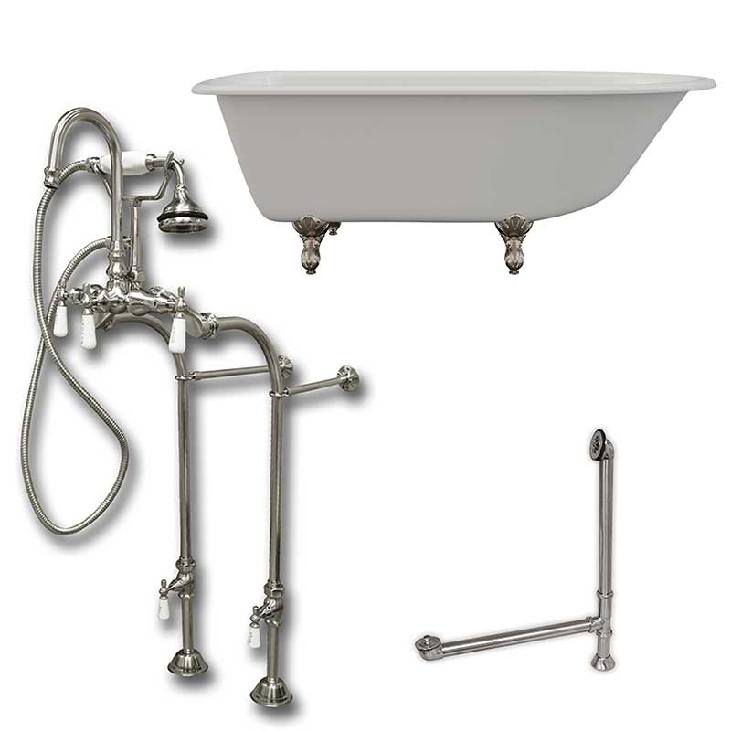 "Cambridge Plumbing Cast-Iron Rolled Rim Clawfoot Tub 61"" X 30"" with no Faucet Drillings and Complete Brushed Nickel Free Standing English Telephone Style Faucet with Hand Held Shower Assembly Plumbing Package"