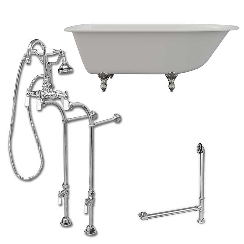 "Cambridge Plumbing Cast-Iron Rolled Rim Clawfoot Tub 61"" X 30"" with no Faucet Drillings and Complete Polished Chrome Free Standing English Telephone Style Faucet with Hand Held Shower Assembly Plumbing Package"