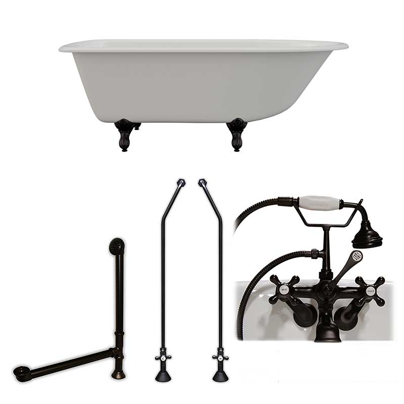 "Cambridge Plumbing Cast-Iron Rolled Rim Clawfoot Tub 61"" X 30"" with 3 3/8"" Bathtub Wall Faucet Drillings and British Telephone Style Faucet Complete Oil Rubbed Bronze Plumbing Package"