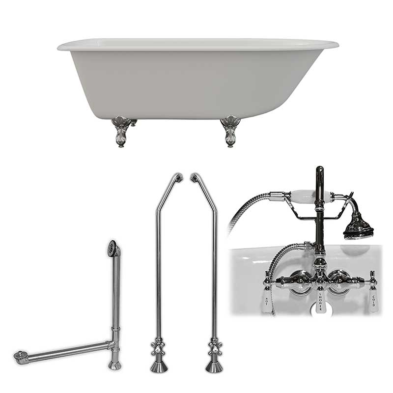 "Cambridge Plumbing Cast-Iron Rolled Rim Clawfoot Tub 61"" X 30"" with 3 3/8"" Bathtub Wall Faucet Drillings and English Telephone Style Faucet Complete Polished Chrome Plumbing Package"