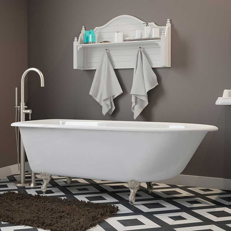 "Cambridge Plumbing Cast-Iron Rolled Rim Clawfoot Tub 61"" X 30"" with No Faucet Drillings and Brushed Nickel Feet"