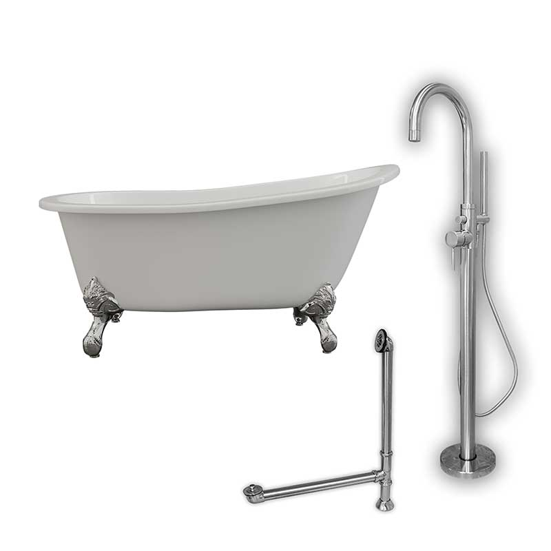 "Cambridge Plumbing Cast Iron Slipper Clawfoot Tub 61"" X 30"" with no Faucet Drillings and Complete Polished Chrome Modern Freestanding Tub Filler with Hand Held Shower Assembly Plumbing Package"