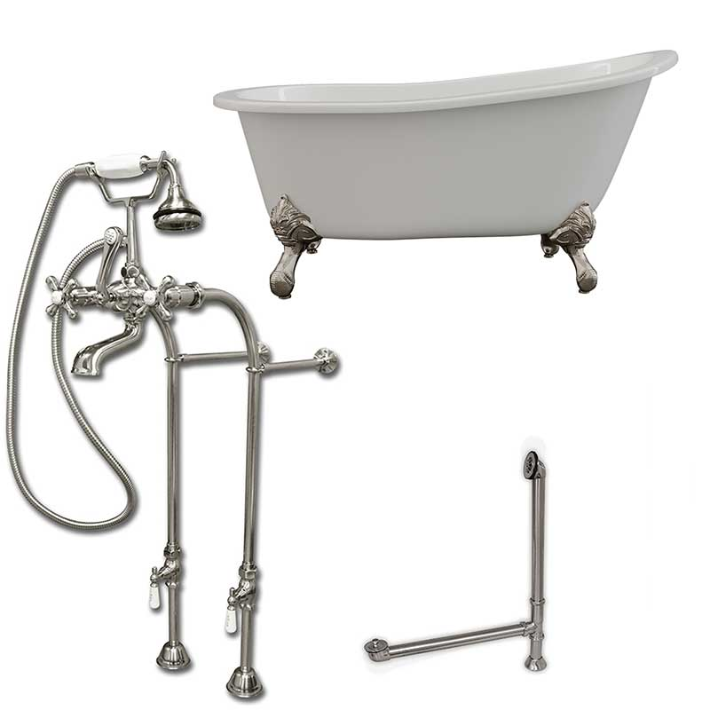 "Cambridge Plumbing Cast Iron Slipper Clawfoot Tub 61"" X 30"" with No Faucet Drillings and Complete Free Standing British Telephone Faucet and Hand Held Shower Brushed Nickel Package"