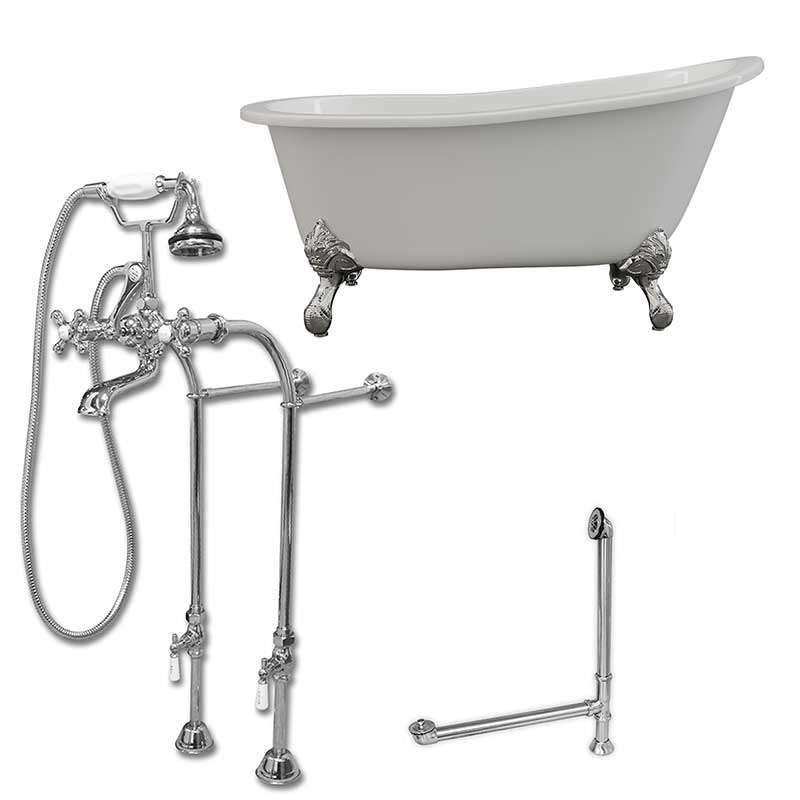 "Cambridge Plumbing Cast Iron Slipper Clawfoot Tub 61"" X 30"" with No Faucet Drillings and Complete Free Standing British Telephone Faucet and Hand Held Shower Polished Chrome Package"