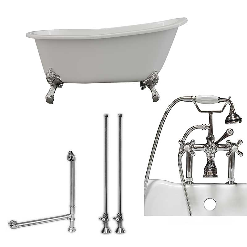 "Cambridge Plumbing Cast Iron Slipper Clawfoot Tub 61"" X 30"" with 7"" Deck Mount Faucet Drillings and British Telephone Style Faucet Complete Polished Chrome Plumbing Package With Six Inch Deck Mount Risers"