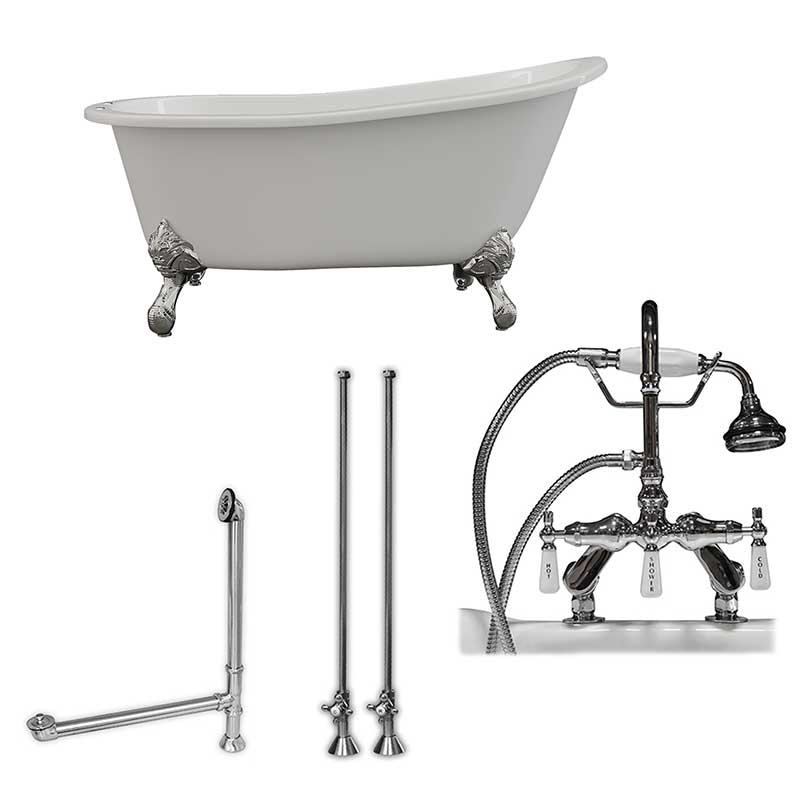"Cambridge Plumbing Cast Iron Slipper Clawfoot Tub 61"" X 30"" with 7"" Deck Mount Faucet Drillings and English Telephone Style Faucet Complete Polished Chrome Plumbing Package"