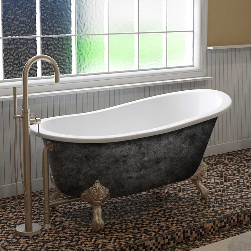 "Cambridge Plumbing Scorched Platinum 61"" x 30"" Cast Iron Slipper Bathtub with"" No Faucet Holes and Brushed Nickel Feet"