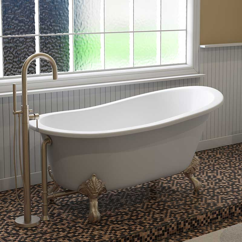 "Cambridge Plumbing Cast Iron Slipper Clawfoot Tub 61"" X 30"" with No Faucet Drillings and Brushed Nickel Feet"