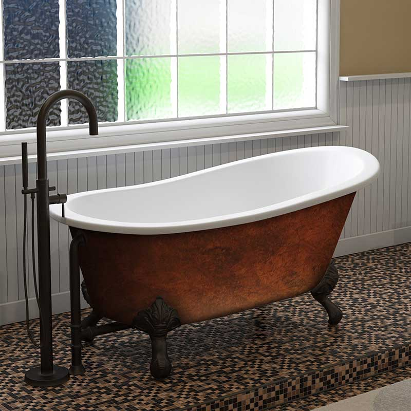 "Cambridge Plumbing Cast IronClawfoot Bathtub 61"" X 30"" Faux Copper Bronze Finish on Exterior with No Faucet Drillings and Oil Rubbed Bronze Feet"