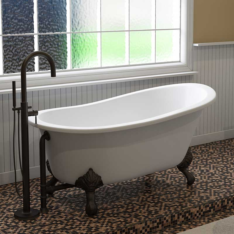 "Cambridge Plumbing Cast Iron Slipper Clawfoot Tub 61"" X 30"" with No Faucet Drillings and Oil Rubbed Bronze Feet"