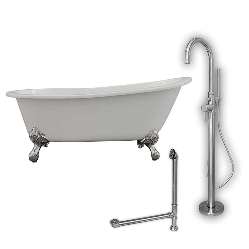 "Cambridge Plumbing Cast Iron Slipper Clawfoot Tub 67"" X 30"" with no Faucet Drillings and Complete Polished Chrome Modern Freestanding Tub Filler with Hand Held Shower Assembly Plumbing Package"