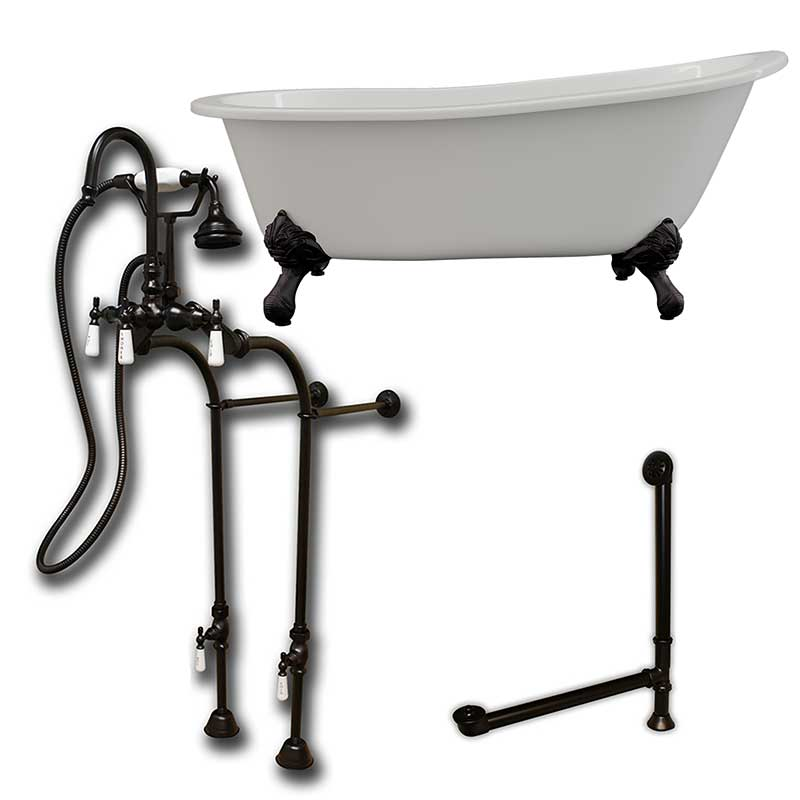 "Cambridge Plumbing Cast Iron Slipper Clawfoot Tub 67"" X 30"" with no Faucet Drillings and Complete Oil Rubbed Bronze Free Standing English Telephone Style Faucet with Hand Held Shower Assembly Plumbing Package"