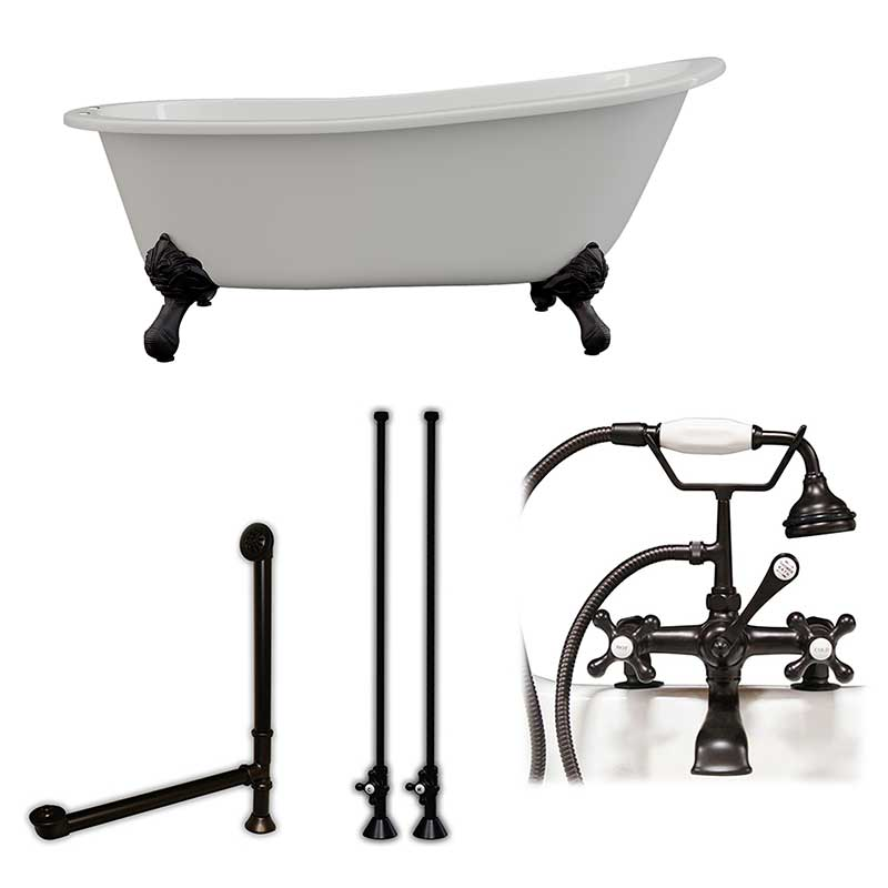 "Cambridge Plumbing Cast Iron Slipper Clawfoot Tub 67"" X 30"" with 7"" Deck Mount Faucet Drillings and Complete Oil Rubbed Bronze Plumbing Package"