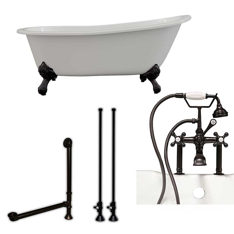 "Cambridge Plumbing Cast Iron Slipper Clawfoot Tub 67"" X 30"" with 7"" Deck Mount Faucet Drillings and British Telephone Style Faucet Complete Oil Rubbed Bronze Plumbing Package With Six Inch Deck Mount Risers"