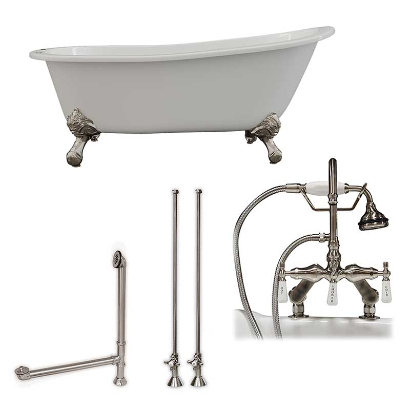 "Cambridge Plumbing Cast Iron Slipper Clawfoot Tub 67"" X 30"" with 7"" Deck Mount Faucet Drillings and English Telephone Style Faucet Complete Brushed Nickel Plumbing Package"
