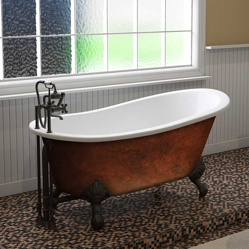 "Cambridge Plumbing Cast IronClawfoot Bathtub 67"" X 30"" Faux Copper Bronze Finish on Exterior with 7"" Deck Mount Faucet Drillings and Oil Rubbed Bronze Feet"