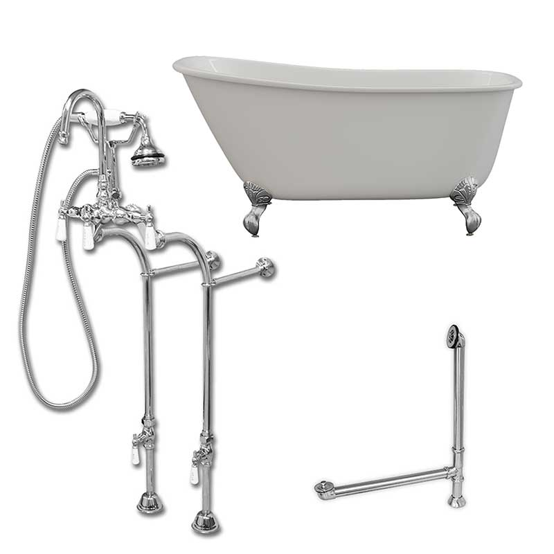 "Cambridge Plumbing Cast Iron Swedish Slipper Tub 54"" X 30"" with no Faucet Drillings and Complete Polished Chrome Free Standing English Telephone Style Faucet with Hand Held Shower Assembly Plumbing Package"