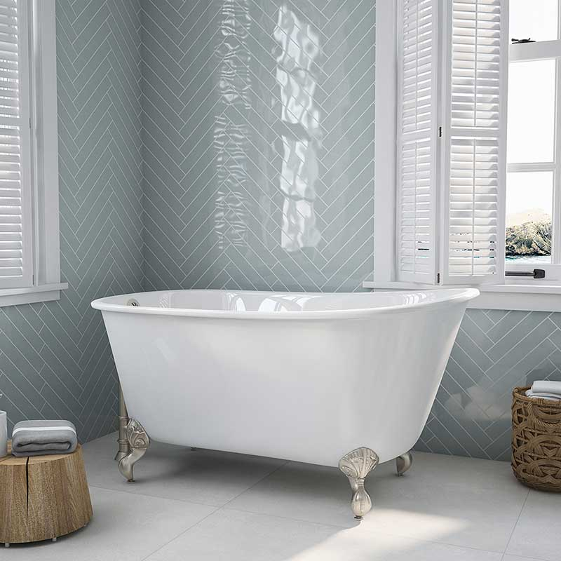 "Cambridge Plumbing Cast Iron Swedish Slipper Tub 58"" X 30"" with No Faucet Drillings and Brushed Nickel Feet"
