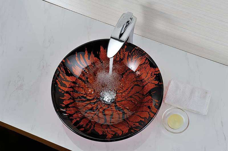 Anzzi Forte Series Deco-Glass Vessel Sink in Lustrous Red and Black 4