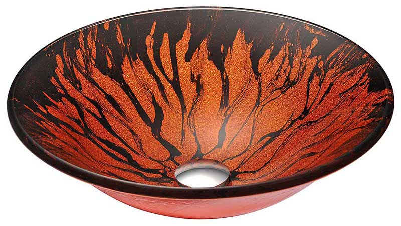 Anzzi Forte Series Deco-Glass Vessel Sink in Lustrous Red and Black