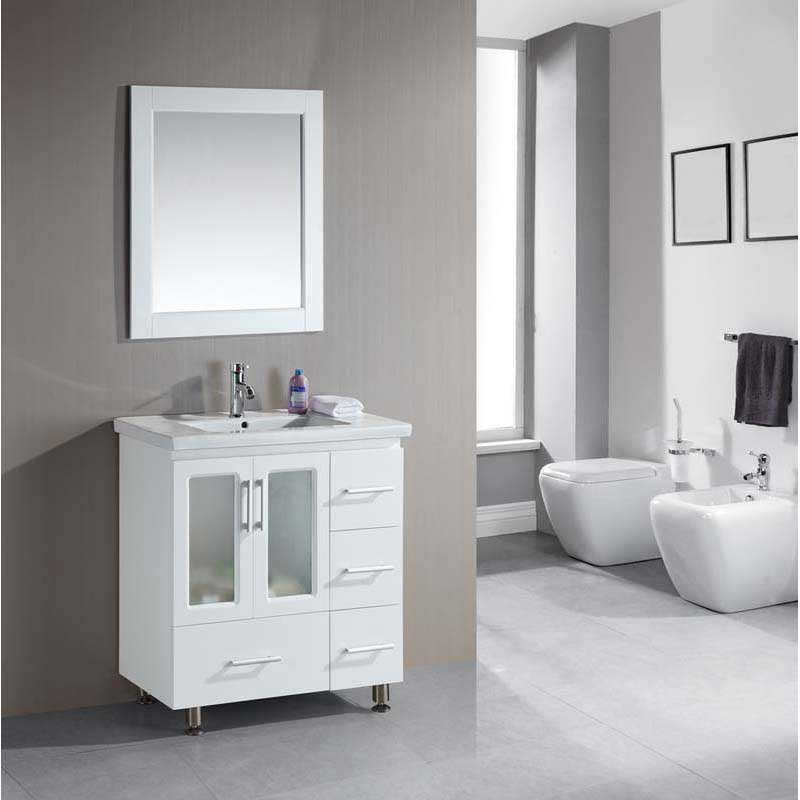 "Design Element Stanton 32"" Single Sink Vanity Set with Drop-in Sink in White 2"