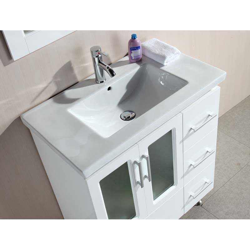 "Design Element Stanton 32"" Single Sink Vanity Set with Drop-in Sink in White 3"