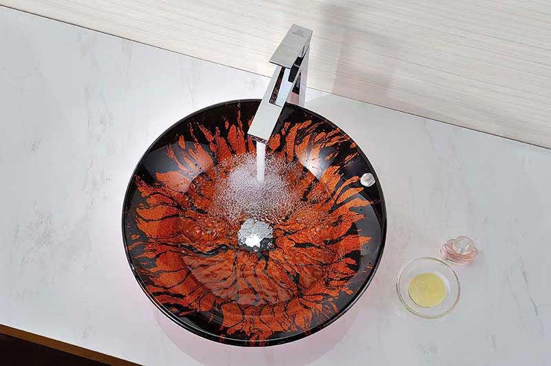 Anzzi Forte Series Deco-Glass Vessel Sink in Lustrous Red and Black 2