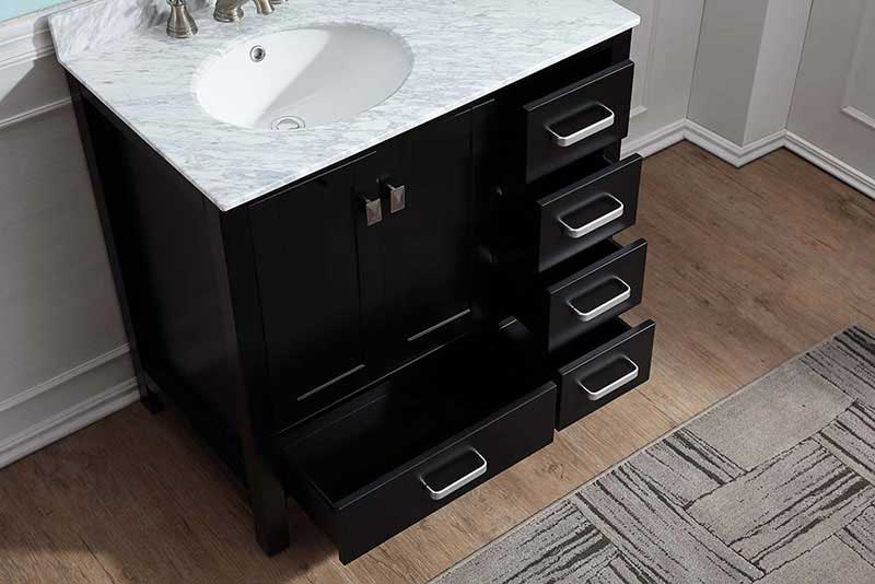 Anzzi Chateau 36 in. W x 22 in. D Vanity in Espresso with Marble Vanity Top in Carrara White with White Basin and Mirror 5