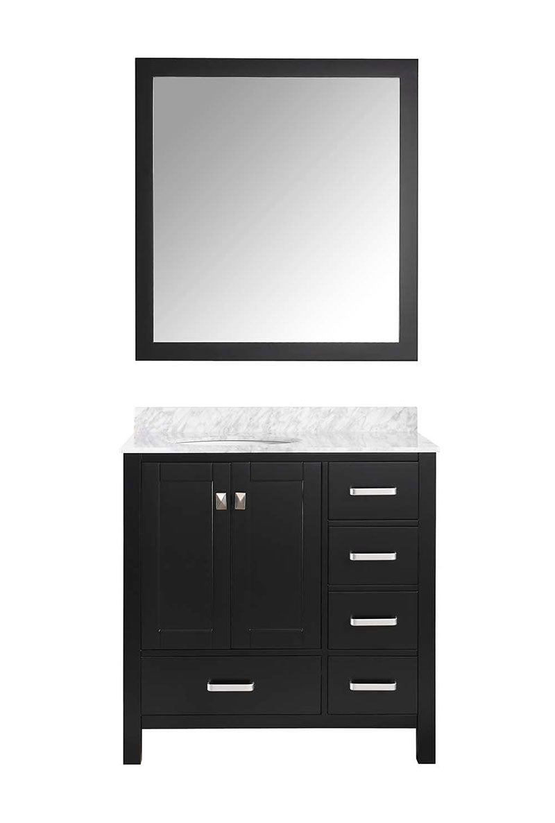 Anzzi Chateau 36 in. W x 22 in. D Vanity in Espresso with Marble Vanity Top in Carrara White with White Basin and Mirror 13