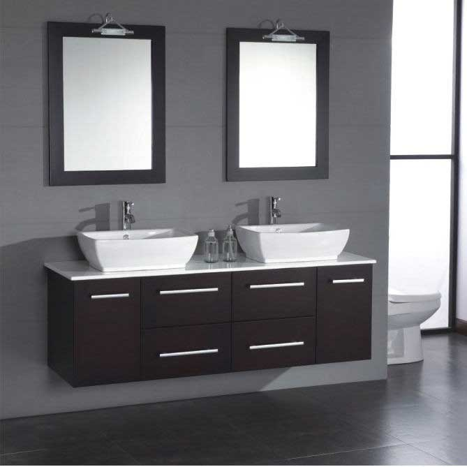 "Cambridge Plumbing Poplar 62"" Wall Mount Double Bathroom Vanity Set"