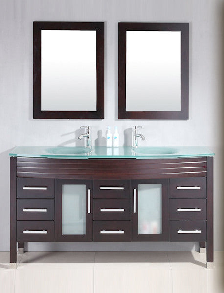 "Cambridge Plumbing Modern 62"" Double Bathroom Vanity Set"