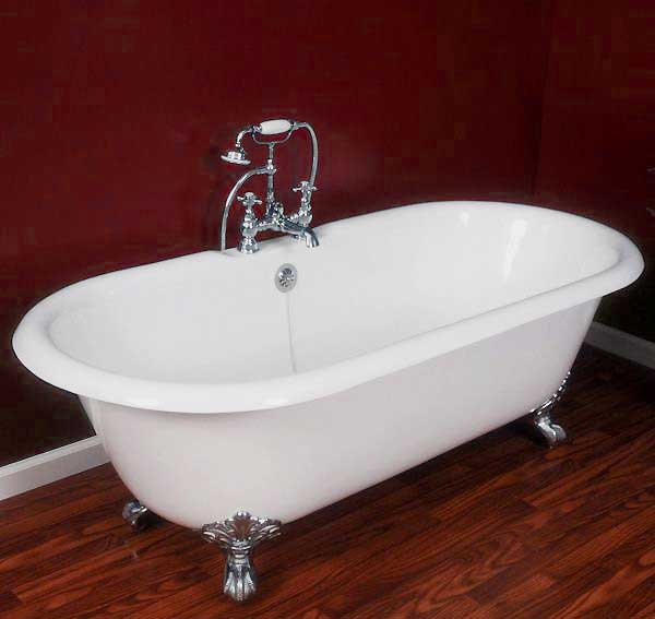 "Cambridge Plumbing 67.25"" x 22.25"" Double Ended Claw Foot Bathtub"