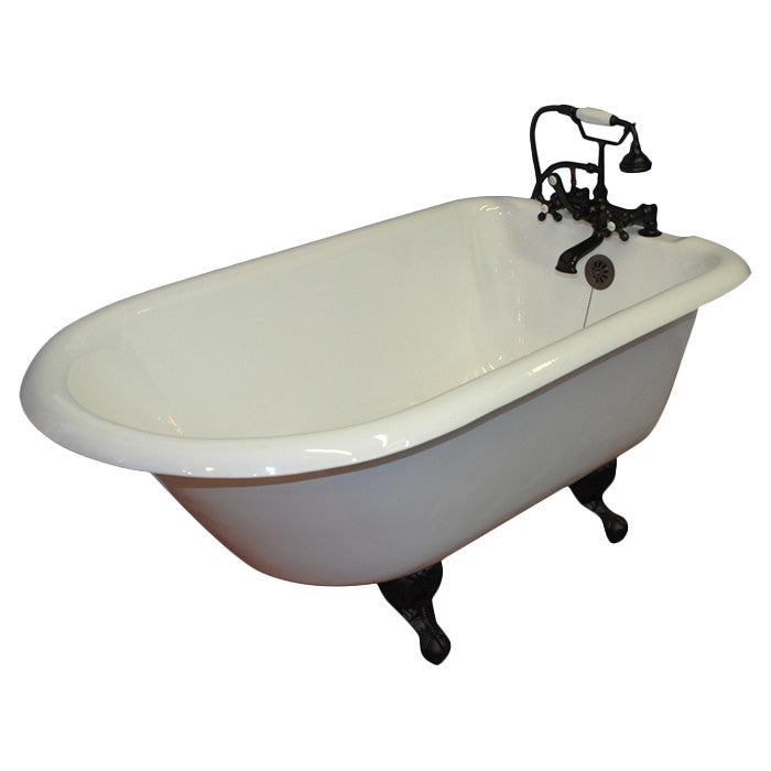 "Cambridge Plumbing 60.5"" x 23.25"" Rolled Rim Soaking Claw Foot Bathtub 2"