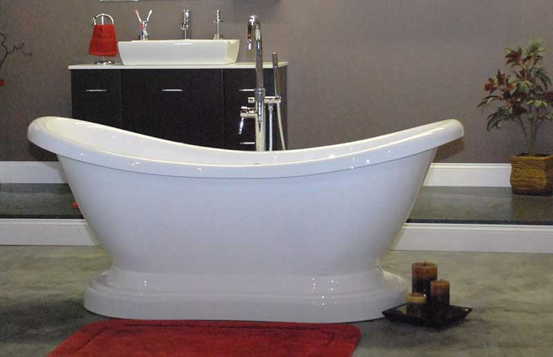 "Cambridge Plumbing 68.63"" x 29"" Pedestal Slipper Tub"