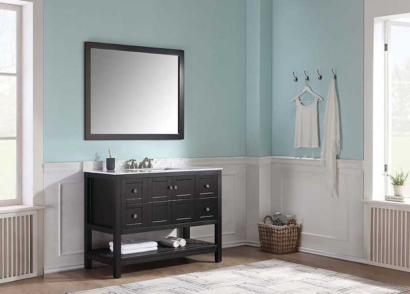 Anzzi Montaigne 48 in. W x 22 in. D Vanity in Espresso with Marble Vanity Top in Carrara White with White Basin and Mirror 2