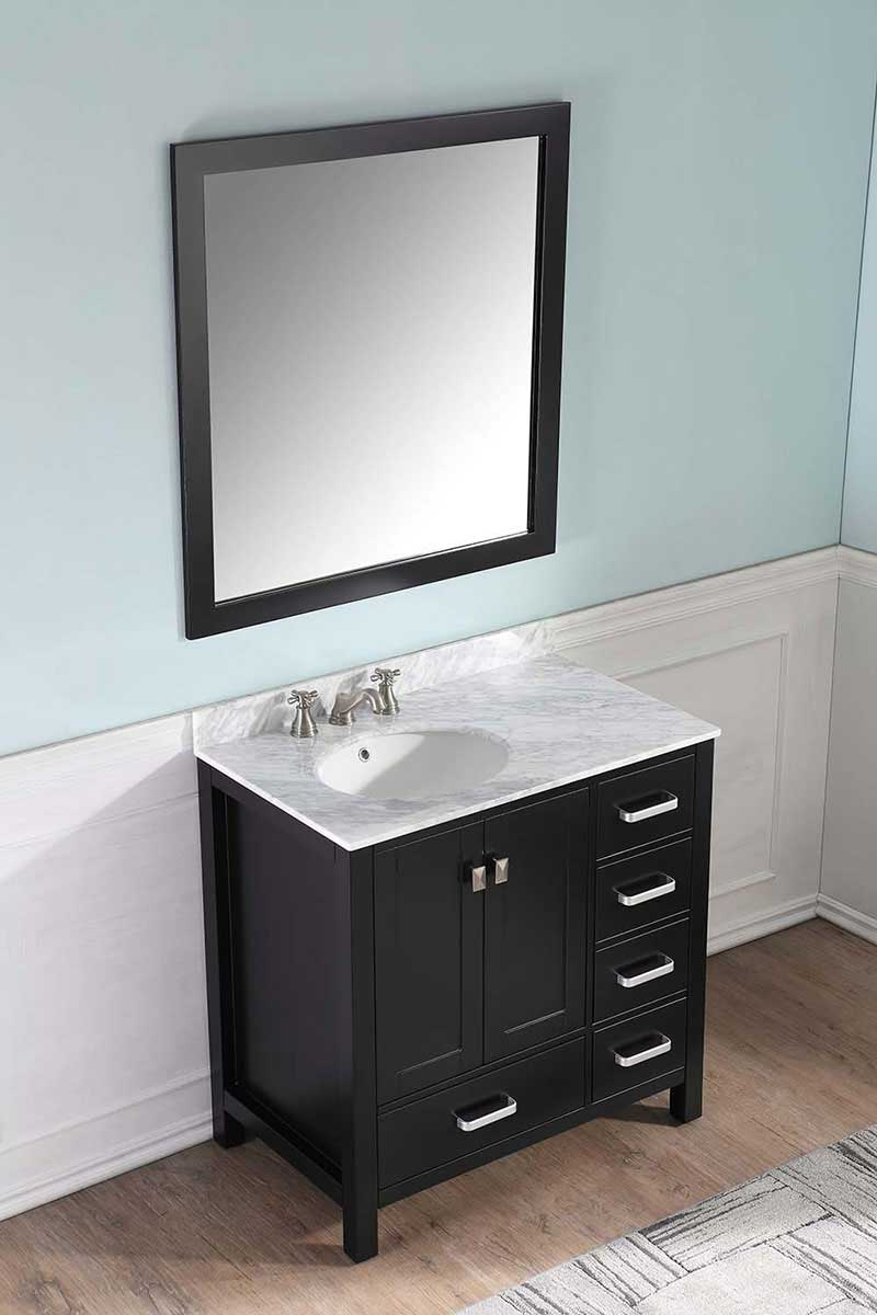 Anzzi Chateau 36 in. W x 22 in. D Vanity in Espresso with Marble Vanity Top in Carrara White with White Basin and Mirror 3