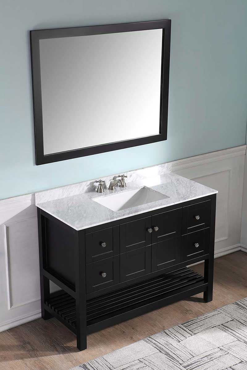 Anzzi Montaigne 48 in. W x 22 in. D Vanity in Espresso with Marble Vanity Top in Carrara White with White Basin and Mirror 3