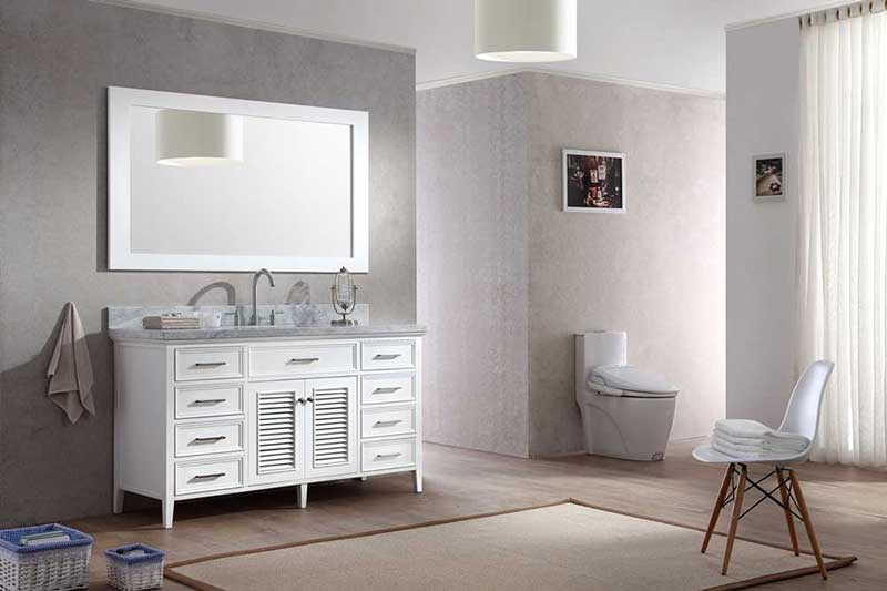 "Ariel Bath Kensington 61"" Single Sink Vanity Set in White 2"