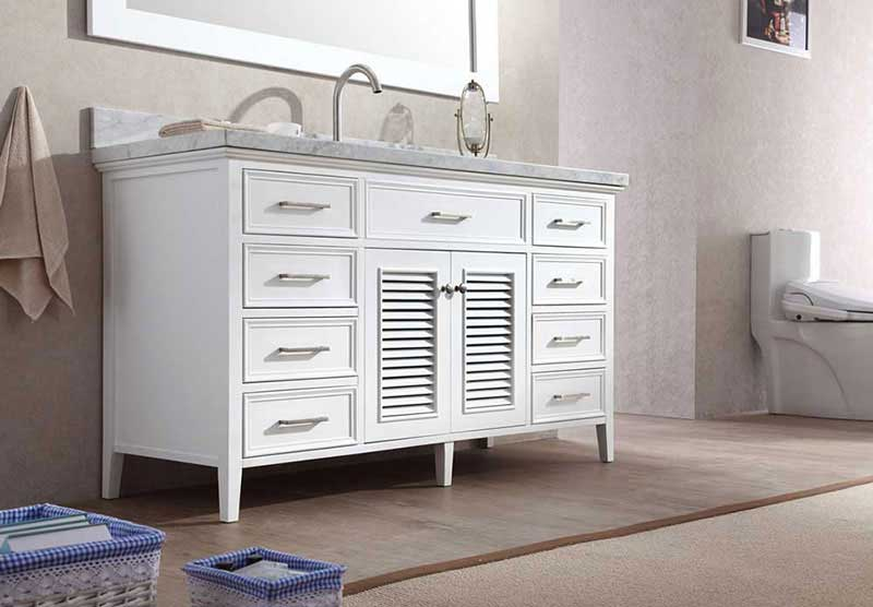"Ariel Bath Kensington 61"" Single Sink Vanity Set in White 3"