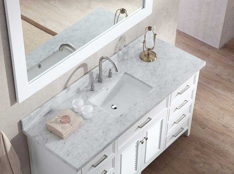 "Ariel Bath Kensington 61"" Single Sink Vanity Set in White 4"