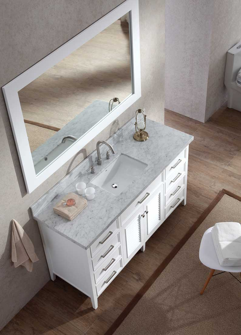 "Ariel Bath Kensington 61"" Single Sink Vanity Set in White 5"
