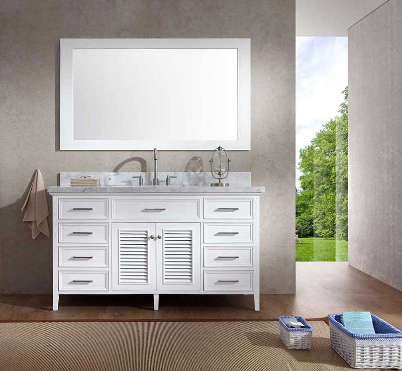 "Ariel Bath Kensington 61"" Single Sink Vanity Set in White"