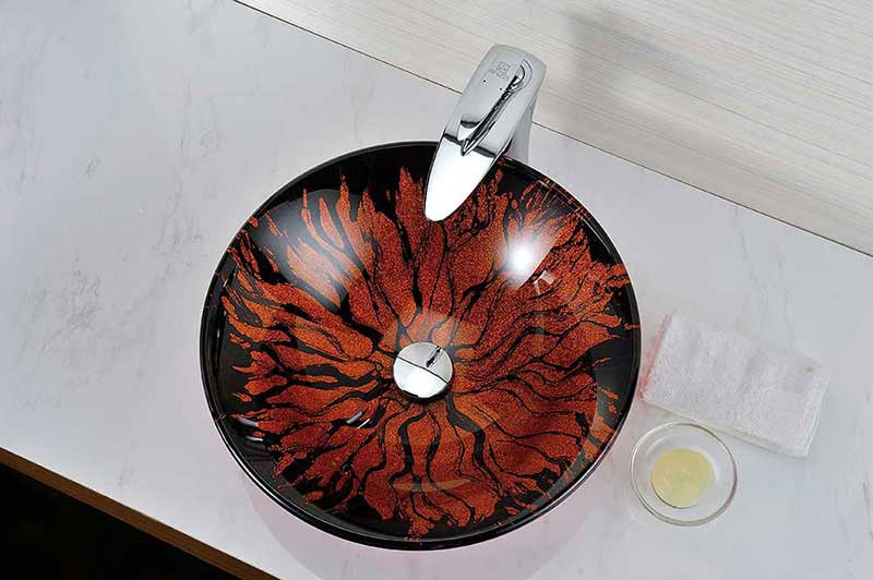 Anzzi Forte Series Deco-Glass Vessel Sink in Lustrous Red and Black 5