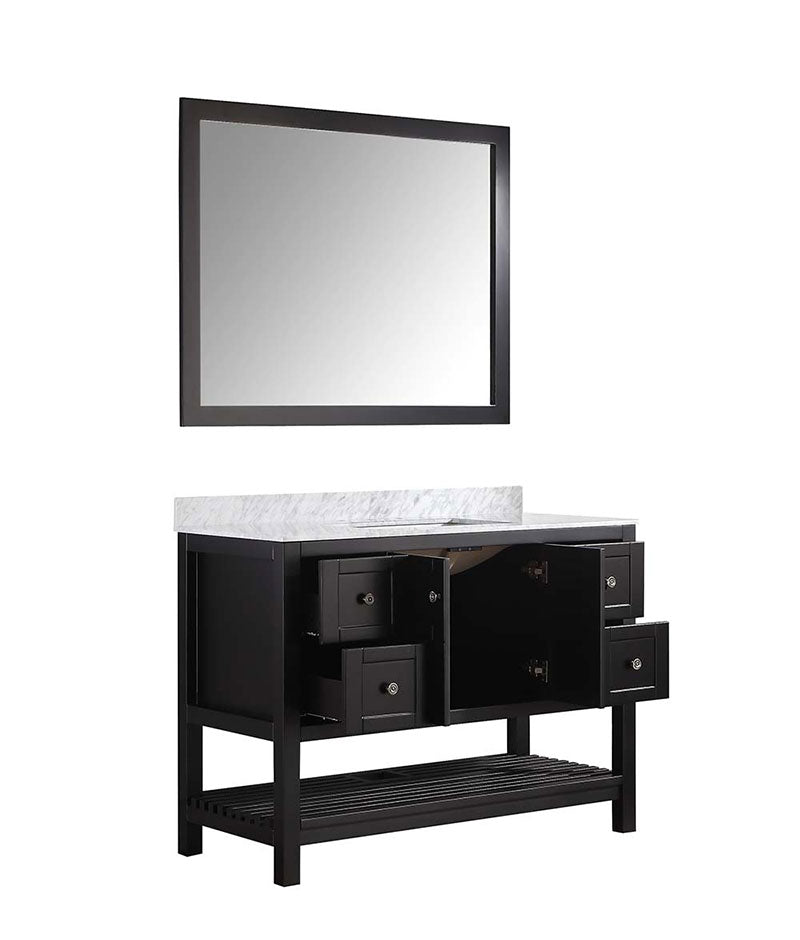 Anzzi Montaigne 48 in. W x 22 in. D Vanity in Espresso with Marble Vanity Top in Carrara White with White Basin and Mirror 14